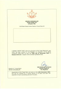Change of trademark owner Brunei