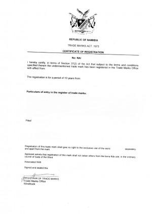 Change of trademark owner Namibia