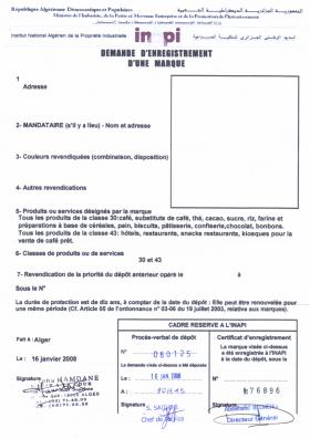 Legal representative for trademark in Algeria