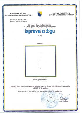 Change of trademark owner Bosnia