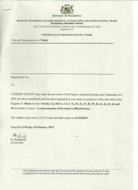Legal representative for trademark in Mauritius