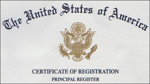 USPTO trademark registration certificate